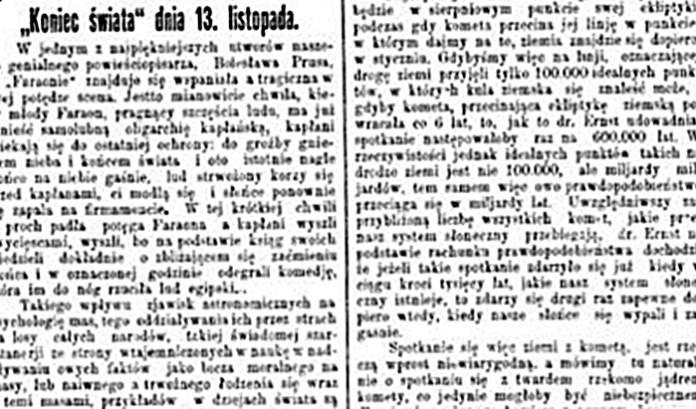 """Повідомлення про """"Кінець світу"""" 13 листопада 1899 року в газеті Kuryer Lwowski"""