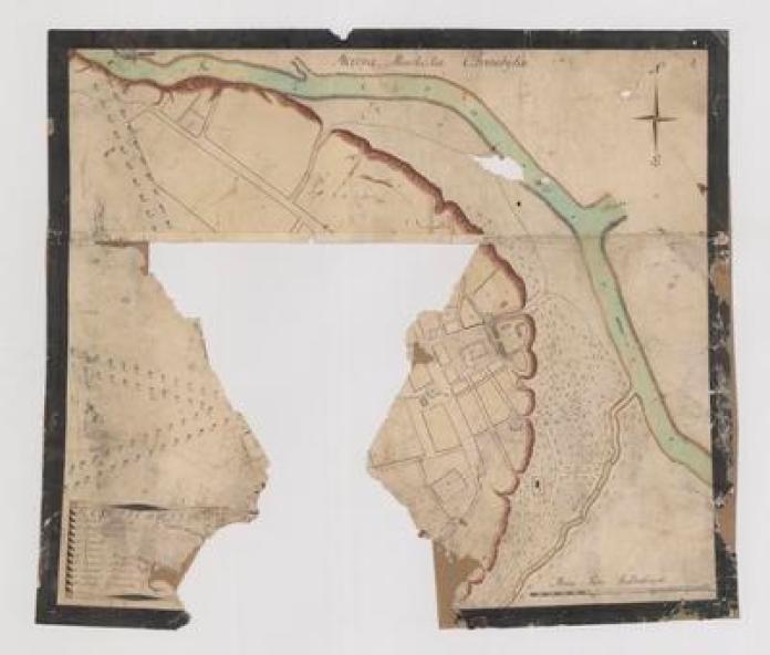 Карта Чорнобиля 1750-року з архіву Ходкевичів у Кракові. Документ потребує відновлення і може стати цінним інформаційним джерелом