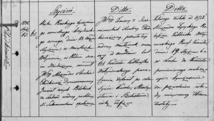 Запис в метричній книзі про смерть Олександра Ходкевича в 1838 році. Архів AGAD