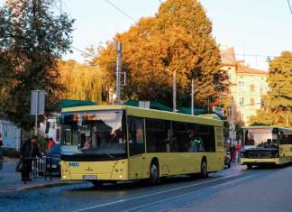 Автобуси МАЗ 203 та «Електрон» А 185 на вул. Підвальній. Вересень 2019 р. Автор фото Вадим Галюк.