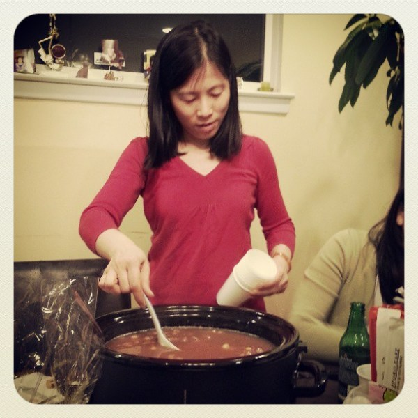 She made red bean soup in the slow cooker. #nomnomnom