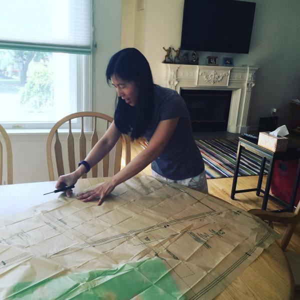 She's making a dress