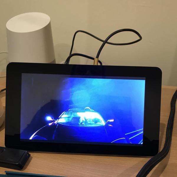 This live feed of the space car via a Raspberry Pi is the most nerdy thing on my desk.