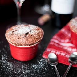 Dark Chocolate Soufflé with Grand Marnier Crème Anglaise