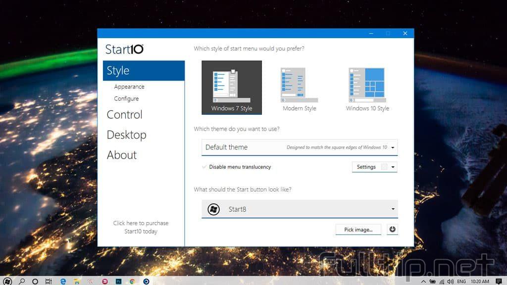 turn Start Windows 10 into Windows 7
