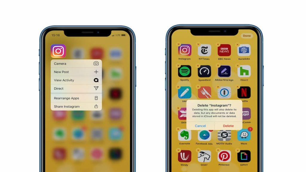 delete apps on iOS 13