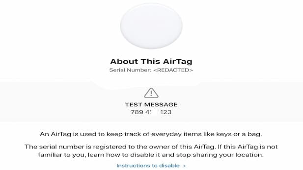 find the AirTag software version serial number 2