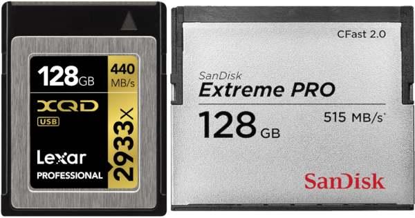 """XQD 2.0 (2012): bus 1 Go/s, débit réel 400 Mo/s. CFast 2.0 (2012): bus 600 Mo/s, débit réel 440 Mo/s. Particularité: deux """"standards"""" de la même association. - documents SanDisk et Lexar"""