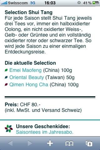 Selection Shui Tang Sommer