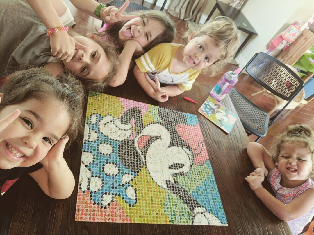 The kiddos finally got around to finishing this puzzle in one sitting