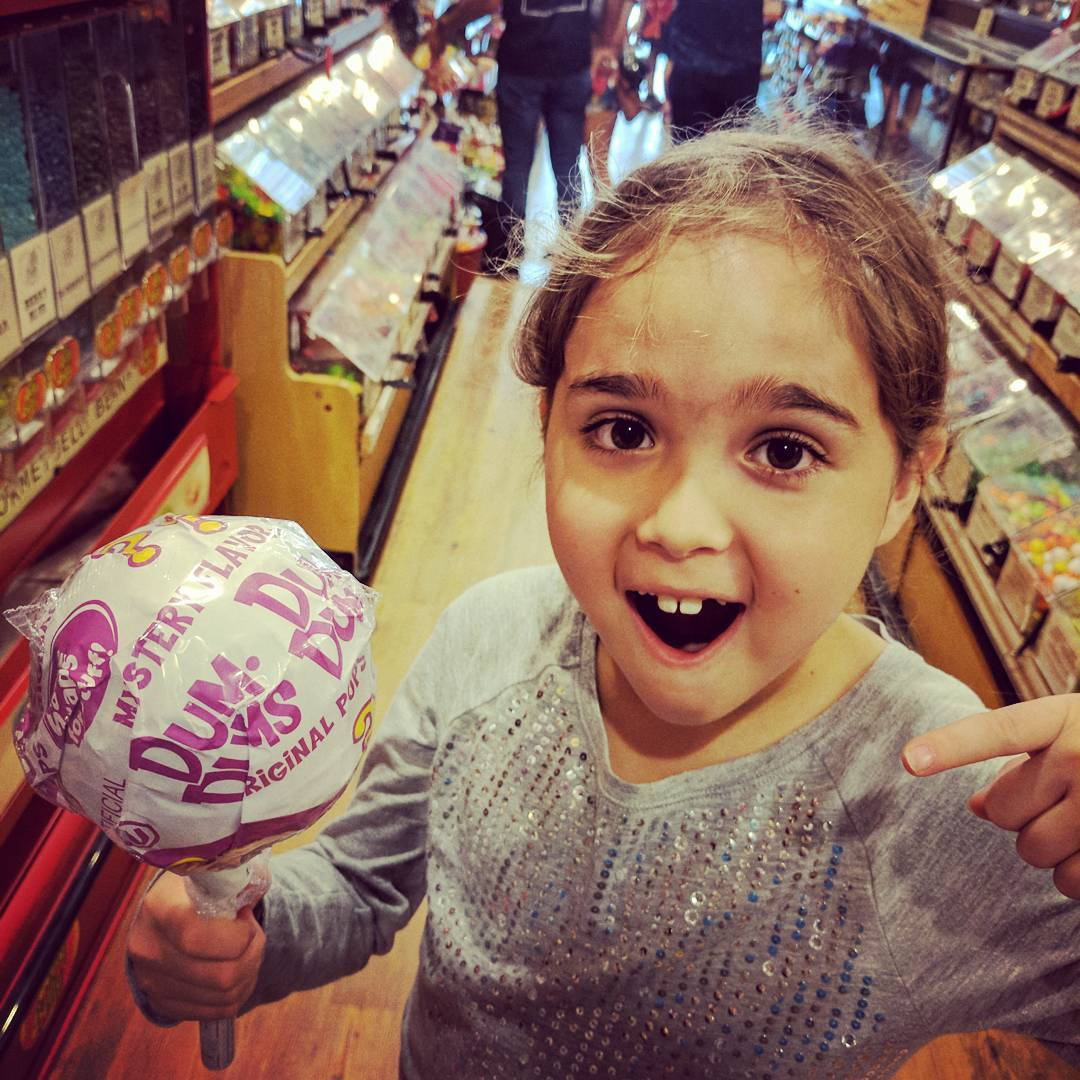 One kiddo solo with Daddy? Let her pick where we go and she went straight to a book of Austin things to do with kids. And straight to the candy shop page. Why not?