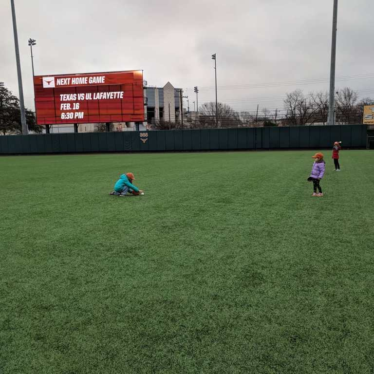 Playing a little catch out in right field
