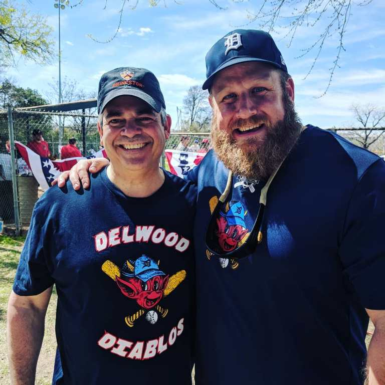 Mayor Steve Adler with Delwood Board President Andy Hoffman. We are excited to host him and MLB's Play Ball event at our fields today!