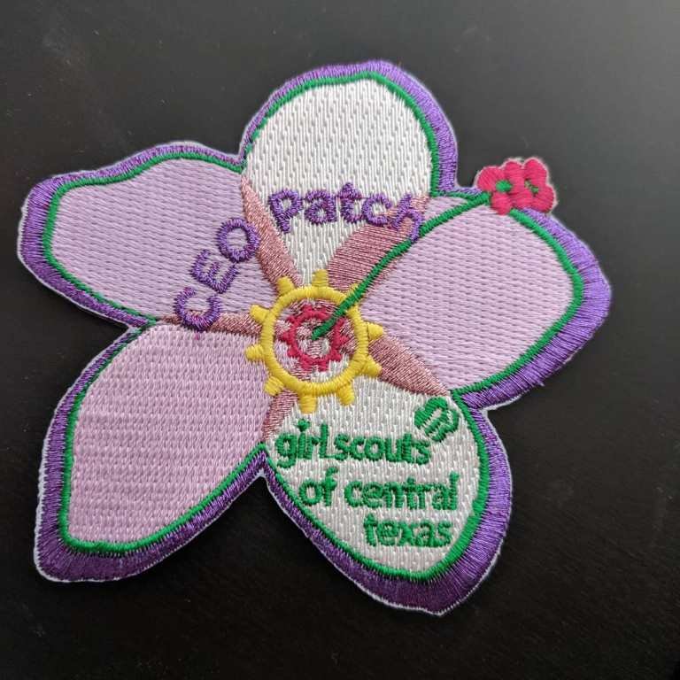 Girl Scouts have patches for everything. When you meet the CEO of the region, she gives girls a patch like commanders do with military challenge coins