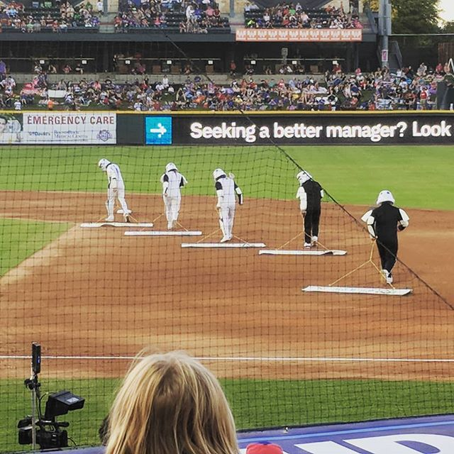 Minor League Baseball is amazing. Star Wars Night so they hired the local Stormtroopers unit as the grounds crew.