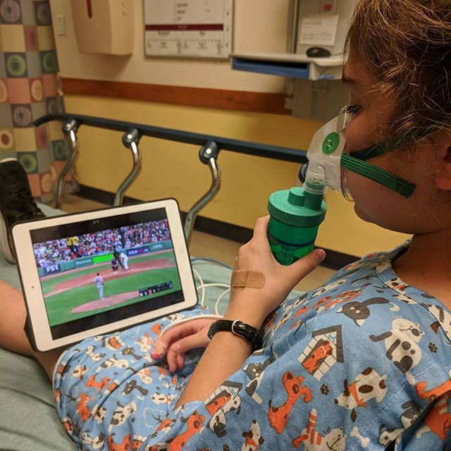 <span class='p-name'>Asthma sucks. She had a flare up that after a few stops landed us admitted into Dell again. Not fun when she was unable to speak because of her labored breathing. She got to watch a lot of baseball though. Back home</span>