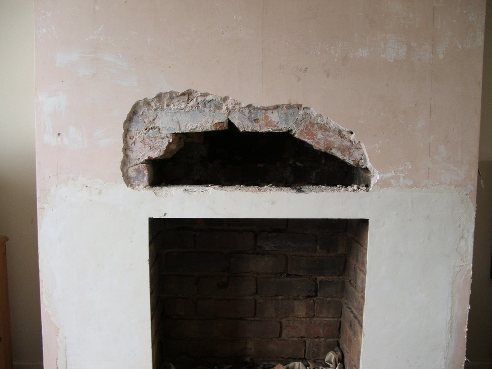 Install Fireplace Lintel And Plaster Chimney Breast