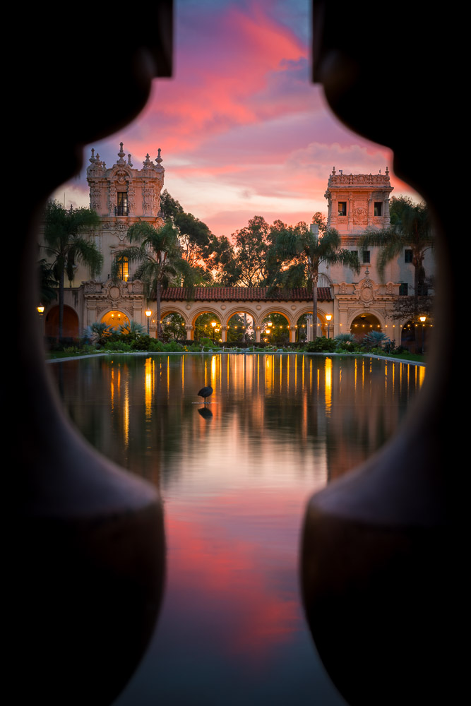 Keyhole view of the Lily Pond in Balboa Park. San Diego, California.