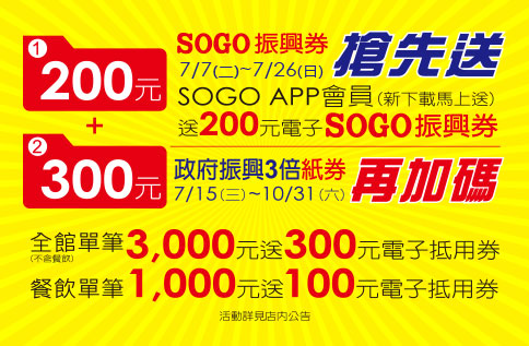 SOGO《高雄店》SOGO振興券搶先送200元 【2020/10/31 止】#三倍券 #三倍卷 #振興券 #振興三倍券