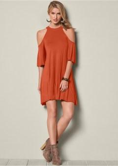 Burnt Orange Cold Shoulder Dress