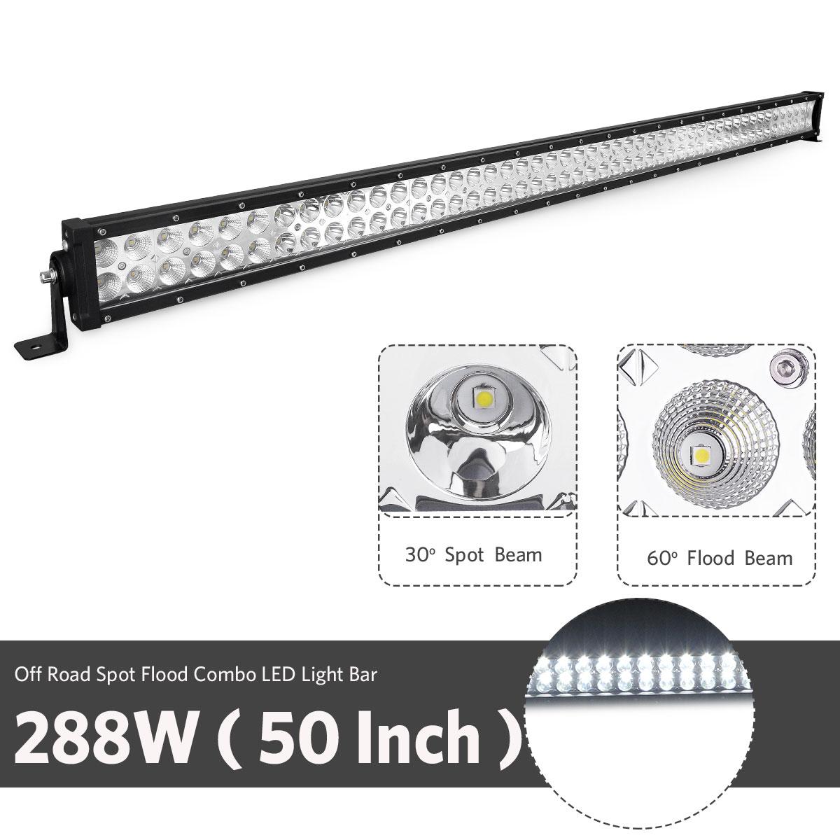 4d Lens 50inch 288w Led Light Bar Combo Driving Lamp 4wd