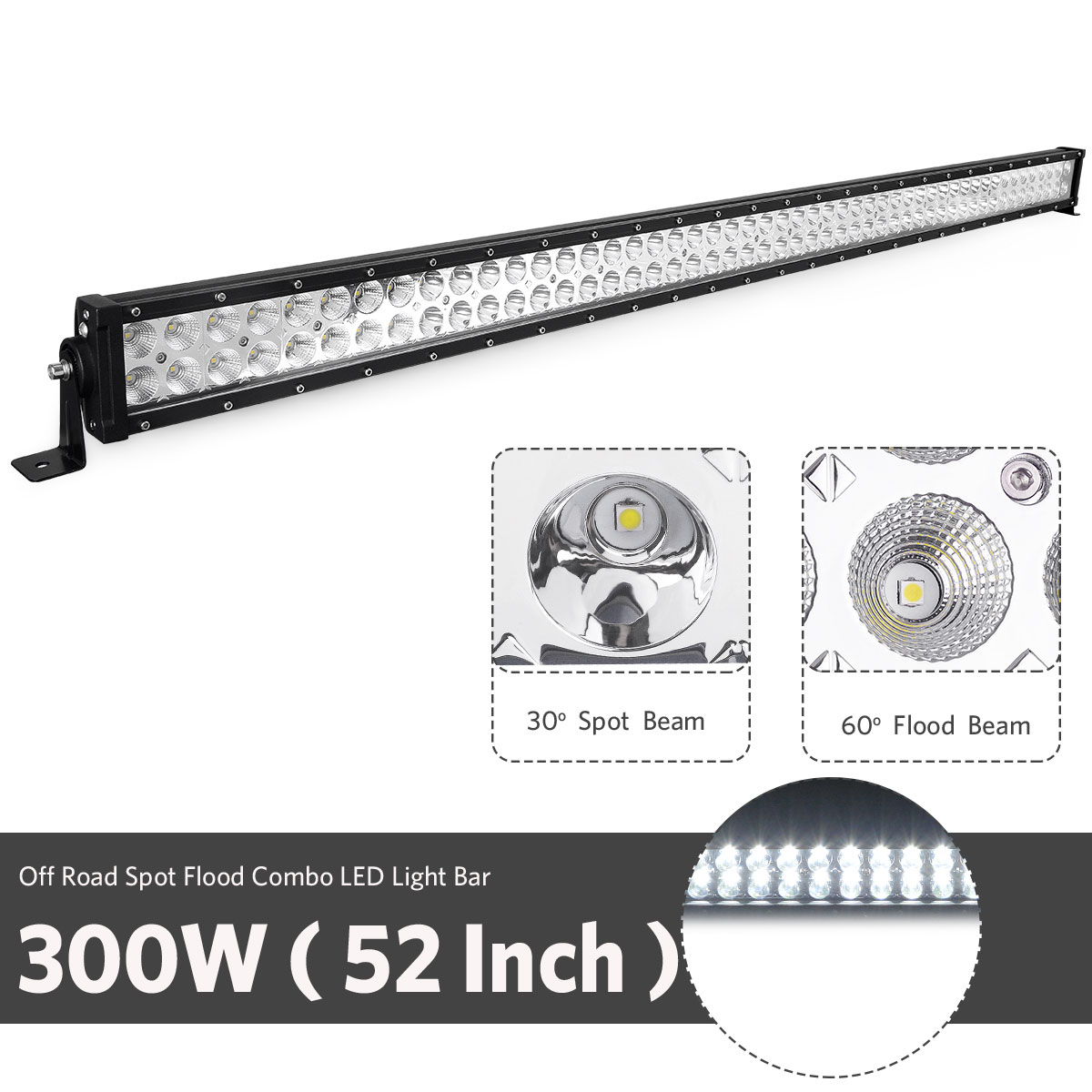 52inch Led Light Bar Combo 24in 4 Pods Offroad Suv 4wd
