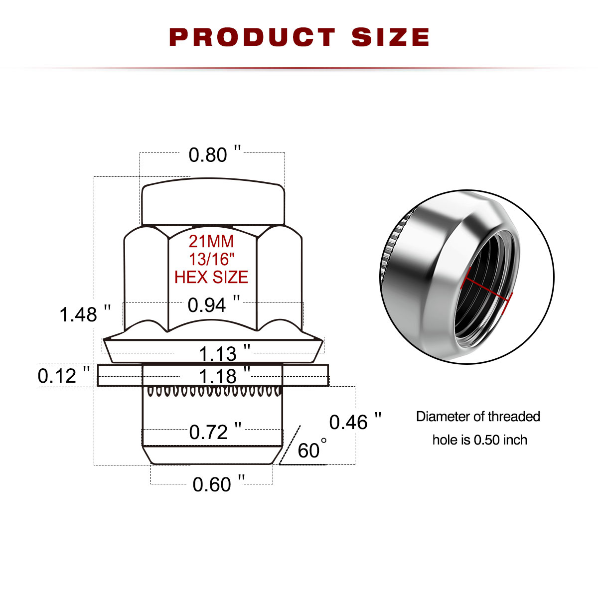 20 Chrome 12x1 25 Mag Seat Lug Nut For Nissan Frontier