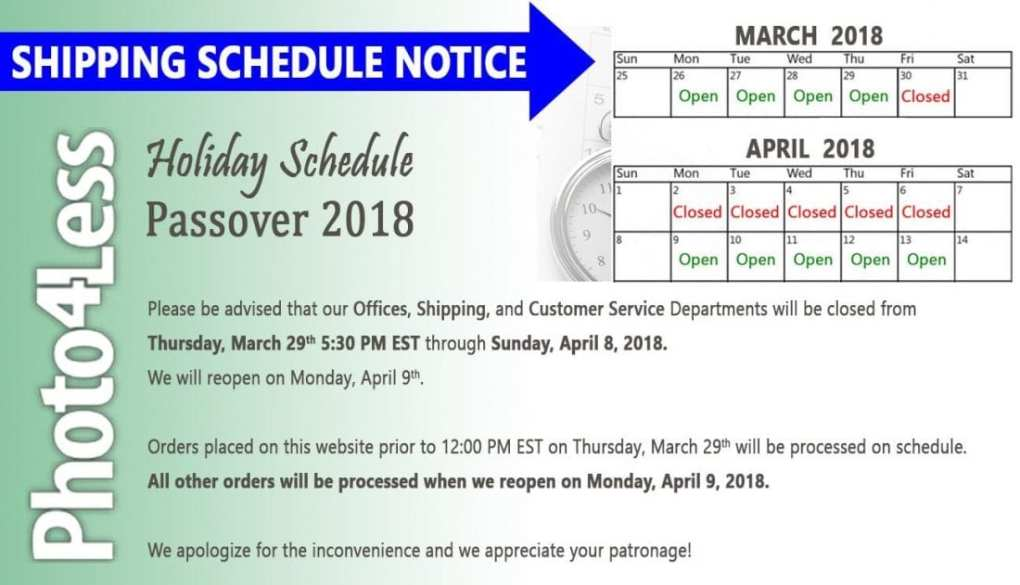 P4L HolidaySchedule Pesach 2018  - Special Holiday Hours