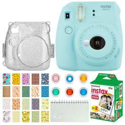 aacd5aac 8f3f 4067 bd66 dc29d55e400a - Fujifilm Instax Mini 9 Instant Camera (Ice Blue) + Fujifilm Instax Mini Twin Pack Instant Film (20 Exposures) + Glitter Hard Case + Colored Filters + Album (White) + Sticker Frames Nature Package