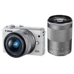 Canon EOS M100 Mirrorless Digital Camera with 15 45mm and 55 200mm Lenses White 01 - Cart