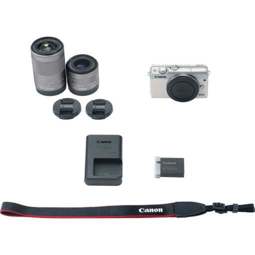 Canon EOS M100 Mirrorless Digital Camera with 15 45mm and 55 200mm Lenses White 015 - Canon EOS M100 Mirrorless Digital Camera with 15-45mm and 55-200mm Lenses (White)