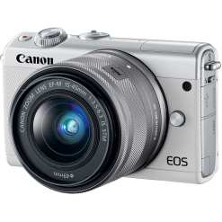 Canon EOS M100 Mirrorless Digital Camera with 15 45mm and 55 200mm Lenses White 02 - Cart