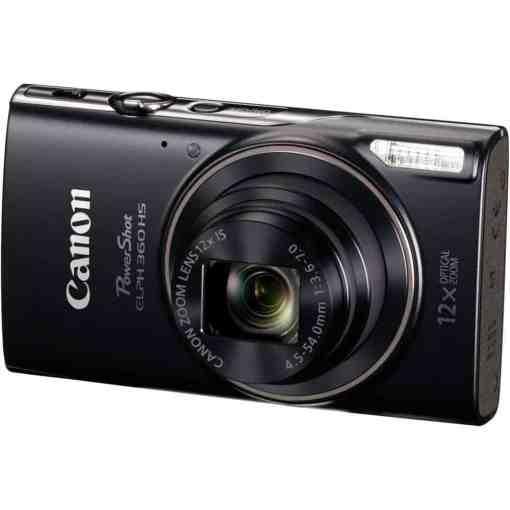 Canon PowerShot ELPH 360 HS Digital Camera Black 01 - Canon PowerShot ELPH 360 HS with 12x Optical Zoom and Built-In Wi-Fi (Black)