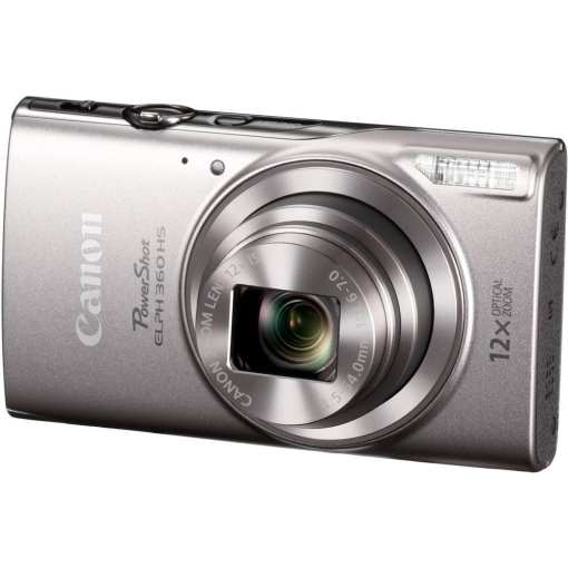 Canon PowerShot ELPH 360 HS Digital Camera Silver 01 - Canon PowerShot ELPH 360 HS with 12x Optical Zoom and Built-In Wi-Fi (Silver)