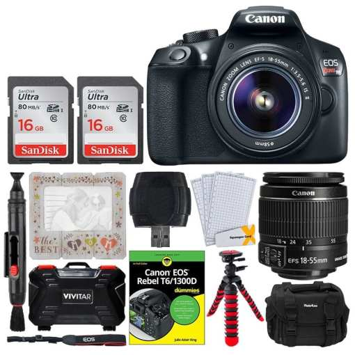 ae150e4c 8066 4802 84a1 33055196f468 - Canon EOS Rebel T6 SLR Camera 18-55mm + 32GB + Dummies Book - Bundle