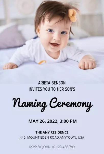 naming ceremony invitation templates