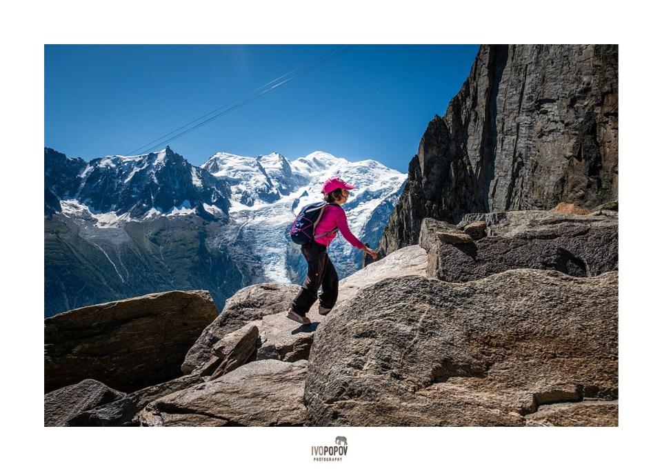 Small kid hiking above Chamonix