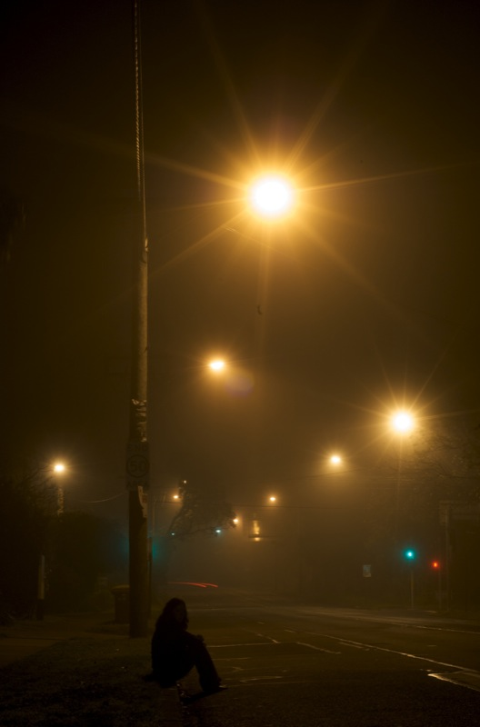 Sitting in foggy night