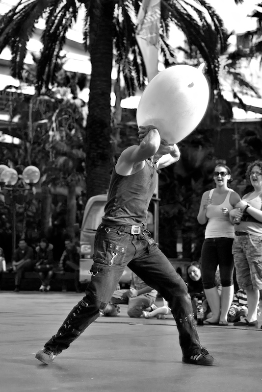 Street Theatre Glove Blowing
