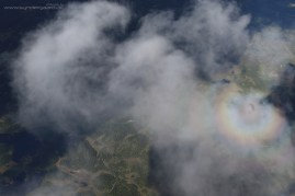 When you fly between the sun and a cloud, a halo forms on the cloud - here's mine.