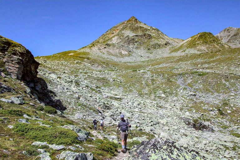 Hikers hiking the Haute Route in France and Switzerland
