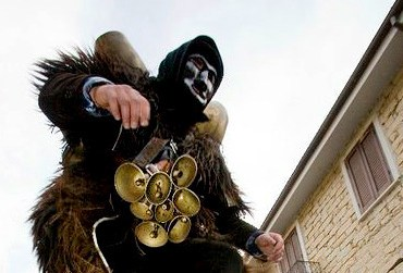 A Mamuthones---a half-man--half-beast---dances in Mamoiada in central Sardinia during St. Anthony's Day.