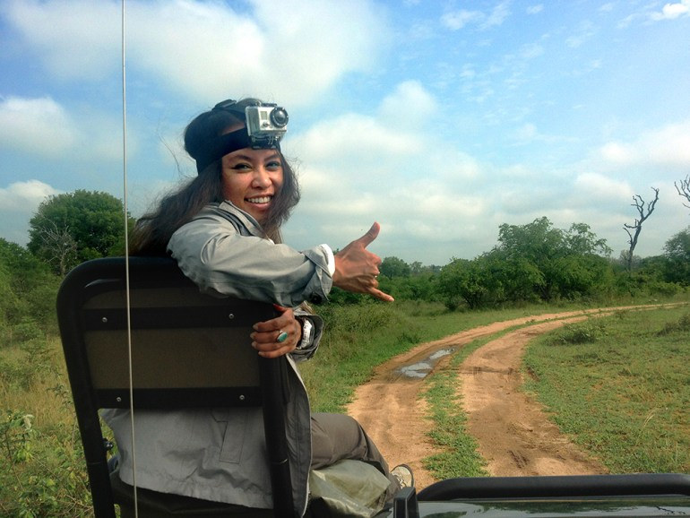 A woman in the tracker's chair on safari in Londolozi Game Reserve, South Africa
