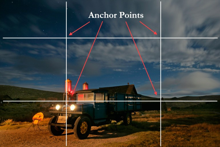 Pro photographer Dan Heller illustrates the photo tip Anchor Points with photo of an old car at night.