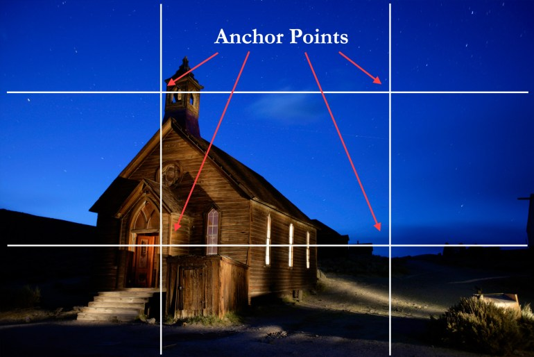 Pro photographer Dan Heller illustrates the photo tip Anchor Points with photo of a church.