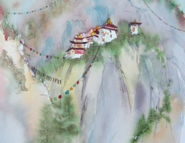 Watercolor painting by Anne Gray of the Tiger's Nest Monastery in Bhutan.