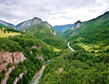 Aerial view of the Tara River Canyon in Montenegro.
