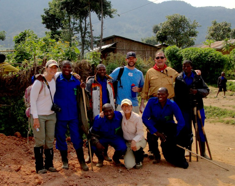 mountain gorilla porters and group