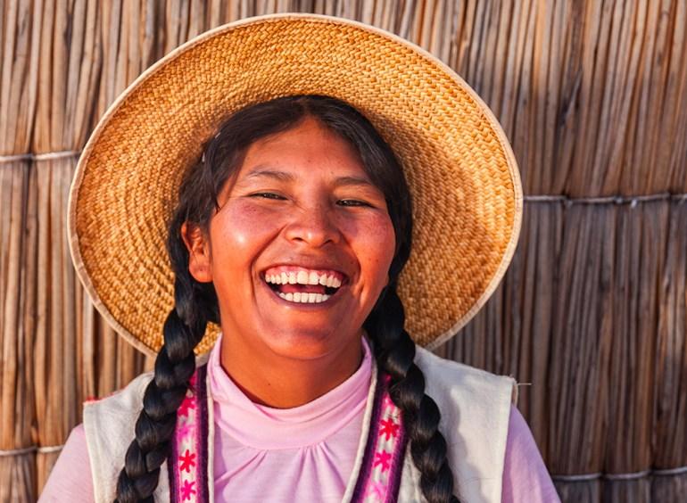 Bolivian woman laughing
