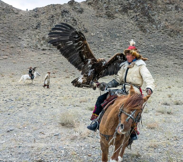 golden eagle festival man with eagle